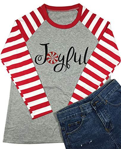 Women's Joyful Christmas Shirt Splicing Sweet Lollipop Stripe Long Sleeve O-Neck Raglan Tops Blouse(Medium,White)]()