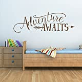 BATTOO Adventure Awaits Wall Decal Quote, Vinyl Lettering with Arrow, Adventure Quote Travel Wall Decal Sticker 32'' W 11'' H, Tribal Theme Room Decor, Dark Brown