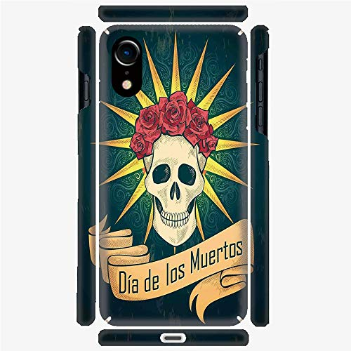 Phone Case Compatible with 3D Printed iPhone X/XS DIY Fashion Picture,Roses and Dia de Los Muertos Print Grunge,Personalized Designed Hard Plastic Cell Phone Back Cover Shell -