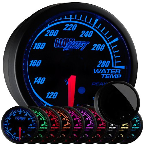 (GlowShift Elite 10 Color 280 F Water Coolant Temperature Gauge Kit - Includes Electronic Sensor - Black Dial - Tinted Lens - Peak Recall Function - For Car & Truck - 2-1/16