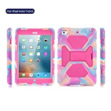 iPad Mini Case, ACEGUARDER Full Body Protective Rubber Hard Cover (Impact Resistant) (Shockproof) (Scratchproof) with Built-in Screen Protector & Adjustable Kickstand for Apple iPad Mini 1 2 3 (PinkCamo/Rose)