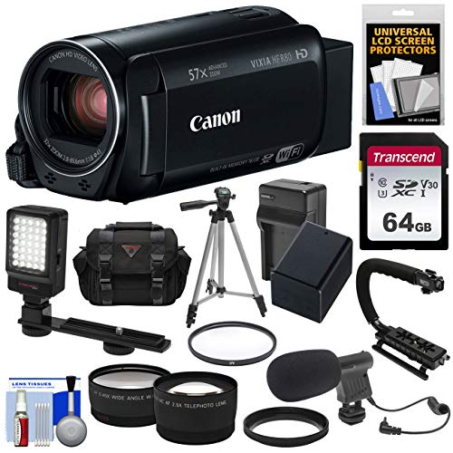 - Canon Vixia HF R80 16GB Wi-Fi 1080p HD Video Camera Camcorder with 64GB Card + Battery & Charger + Case + Tripod + Stabilizer + LED + Mic + 2 Lens Kit