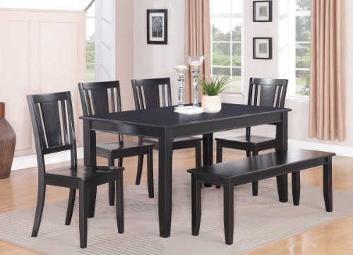East-West-Furniture-DULE6-BLK-W-6-Pc-Modern-Dining-Table-Set-Included-a-Rectangular-Kitchen-Table-and-4-Dining-Room-Chairs-Plus-a-Wonderful-Bench-Solid-Wood-Dining-Chairs-Seat-Panel-Back-Black-Finish