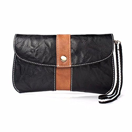 (PU Leather Cell Phone Holster Pouch Belt Loop Case Wristlet Wallet Purse Compatible LG G7 ThinQ/Stylo 3 / V40 ThinQ/LG X Charge/iPhone Xs Max / 8 Plus/BlackBerry Motion (Black with Brown))