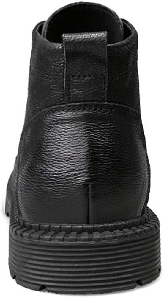 SJXIN-Herren-Winterstiefel Winter Herren Stiefel, Herrenmode Ankle Boots beiläufige Solid Color Round Top wasserdichte Sohle Stiefel (mit Fleece-Futter Optional) Warm Black