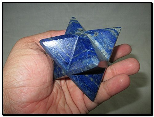 Rare New Natural Lapis Lazuli Large 2'' Merkaba Gemstone Huge Big A+ Hand Carved Mineral Rock Crystal Altar God Prayer Mantra Om Altar Healing Tray Dish Devotional Focus Spiritual Chakra Ancient Cleansing Metaphysical Psychic Reiki Balancing Divine Quality by Jet International