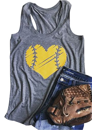 (YUYUEYUE Baseball Mom Heart Print Funny Tank Top Women's Casual Vest Cami T-Shirt Tee)