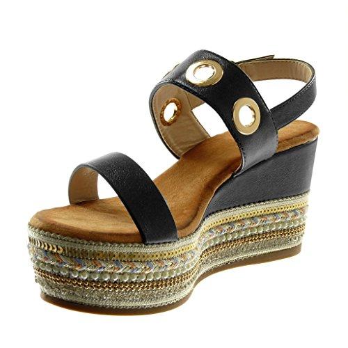 cinturino Fantasy Sandali Cm Ciabatte con Moda Nero Angkorly Donna caviglia alla Scarpe 9 Folk Bright forata qTXwE7