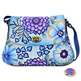Anna Anuschka Handpainted Leather Turnlock Hobo -Purse Holder Bundle - (Summer Bloom Blue)