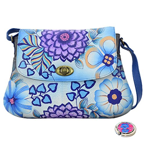 Anna Anuschka Handpainted Leather Turnlock Hobo -Purse Holder Bundle - (Summer Bloom Blue) by ANUSCHKA