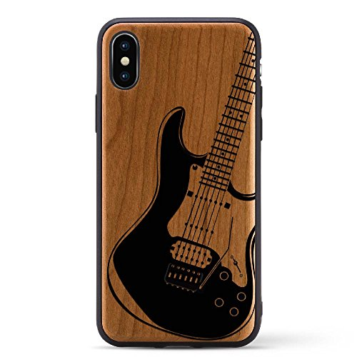Black Print Cherry Wood Case For iPhone X/10 2017 version Compatible with New iPhone X Rubber Grip Bumper Screen Protection Natural Wood | Model - Tracking Have Priority Does Usps