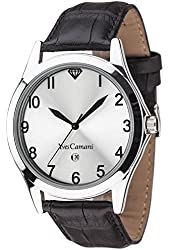 Yves Camani Allier Mens Watch Silver Plated Silver Dial Black Leather YC1057-A