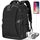 Laptop Backpack 17.3 Inch Travel Anti-theft Waterproof School Backpack Business College Large Capacity Gaming Laptop Backpacks USB Charging Port for Men Women Black
