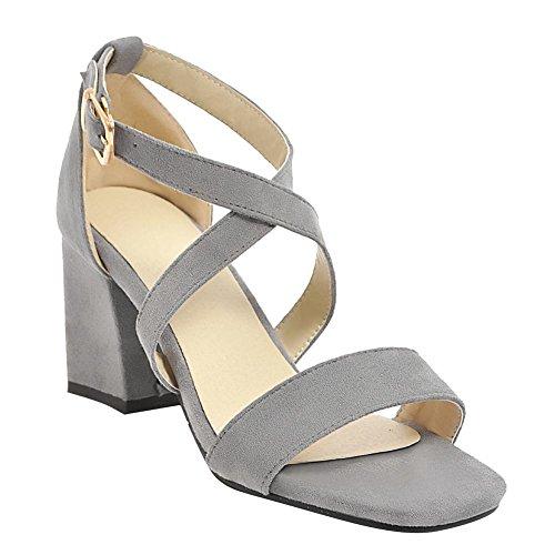 Mee Shoes Women's Dance Buckle Block Heel Sandals Grey WEoXJ9l