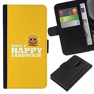 SHELLINA Foto Voltear Cuero Duro Funda Ranura Tarjeta TPU Carcasas Para Smartphone LG G3 D855 D850 D851 - feliz sándwich - lol divertido