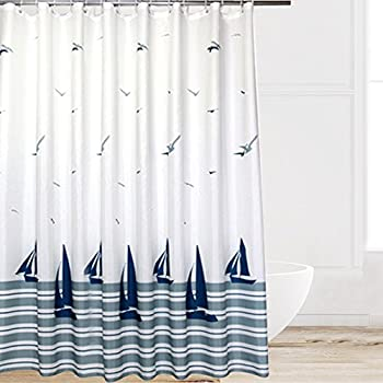 Eforcurtain Beach Pattern Waterproof And Mildew Free Shower Curtain With Hooks Multi Colored