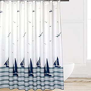 eforcurtain beach pattern waterproof and mildewfree shower curtain with hooks whitenavy 72inch by 72inch