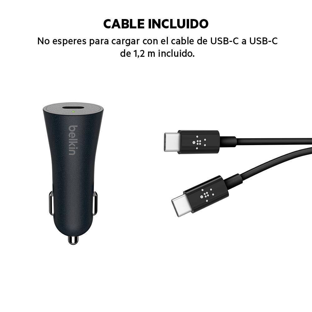 Belkin Boost Charge - Cargador para Coche (Quick Charge 4+ de 27 W con Cable de USB-C a USB-C de 1.2 m)