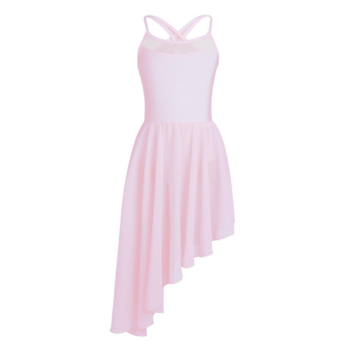 d9622bb1c97a iEFiEL Kids Big Girls Irregular Ballet Dress Skirt Contemporary Lyrical  Ballroom Dance Leotard Costume Pink Chiffon 11-12