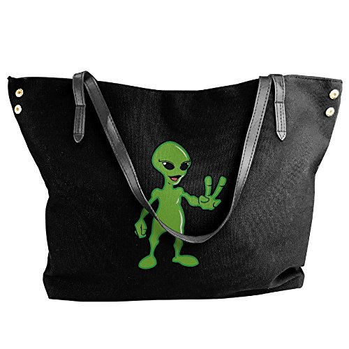 Hobo Bag Tote Handbag Tote Messenger Canvas Black Shoulder Women's Large Alien Cute 84HSxvn