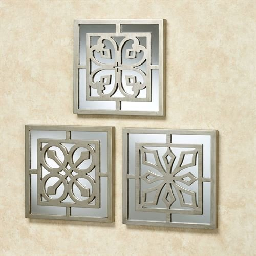 Touch of Class Ryan Mirrored Wall Art Platinum Set of Three