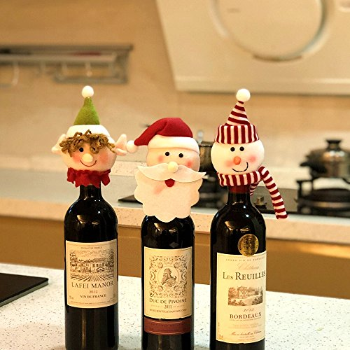 FEFEHOME Christmas Wine Bottle Cover Gift Bags Holidays Décor (Set of 3) (J)