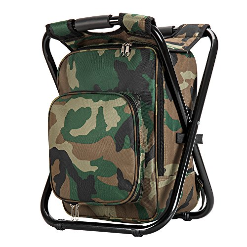 Upgrade Large Size Ultralight Backpack Cooler Chair, Portable & Folding Camping Chair Stool Backpack with Cooler Insulated Picnic Bag, Hiking Camouflage Fishing Backpack Chair, Perfect for Beach BBQ ()