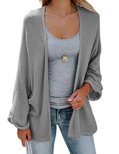 PARIS HILL Womens Long Sleeve Cardigans Oversized Open Front Basic Casual Knit Sweaters Coat Grey Large