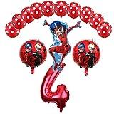 Miraculous Ladybug Foil Balloons Birthday Party Decorations Number Ladybug Helium Mylar Latex Balloon Globos Wholesale - 14PCS (4)