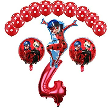 Miraculous Ladybug Foil Balloons Birthday Party Decorations Number Helium Mylar Latex