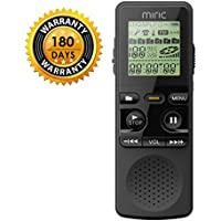 Miric Audio Recorder, Voice Recorder 8GB Portable Multifunctional Built-in Full Dual-Microphone Stereo Sound Digital Audio Dictaphone with MP3 player Charged by USB or Battery