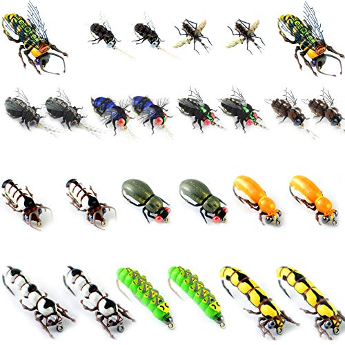 (Fly Fishing Kit-Pack 1/3/9/12pcs of Handmade Fly Fishing Lures Kit-3D Laser Compound Eyes-Food-Grade Silicone Body Flies-Eco-Friendly Packaging-High Simulation Fly Fishing Dry Flies (Lifelike Flies))