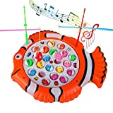 Fishing Game Musical Toys Rotating Fish Toy Fish Board with 21 Toy Fish and 4 Fishing Rod Toy for Boys Girls Kids 3 4 5 Year Old