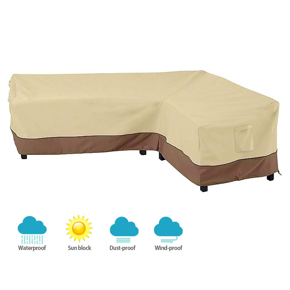 Scorpiuse L-Shaped Patio Sectional Sofa Cover Waterproof Dust-Proof Outdoor Furniture Cover Garden Couch Cover,Right Facing by Scorpiuse