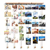 kids art display hanger - Love-KANKEI Wall Hanging Picture Photo Frames 26 by 29 Inch with 30 Wooden Clips - Wire Artworks Prints Cards Holder Organizer Collage Multi Picture Photo Display SHMILY Frame