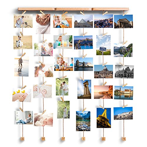 Love-KANKEI Wall Hanging Picture Photo Frames 26 by 29 Inch with 30 Wooden Clips - Wire Artworks Prints Cards Holder Organizer Collage Multi Picture Photo Display SHMILY (Clothespin Place Card Holders)