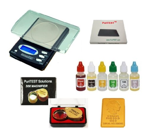 Professional Jeweler's Test Equipment - New Electronic Jewelry Scale, PuriTEST Precious Metals Acid Test Kit, 30x Loupe, Plus FREE 5gr Gold Buffalo Bar (Precious Metal Bullion)