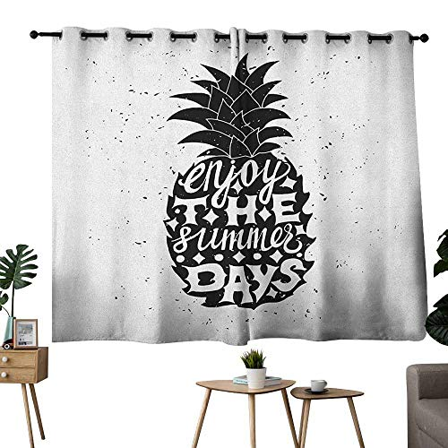 Blackout Curtain Tropical Motivational Slogan on a Exotic Pineapple Indigenous Hawaiian Fruit Pattern Black and White Light Blocking Drapes with Liner W63 xL72