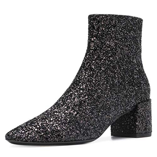 (XYD Glitter Low Block Heel Ankle Boots Sequins Pointed Toe Dress Booties Shoes with Zips Size 7 Black)