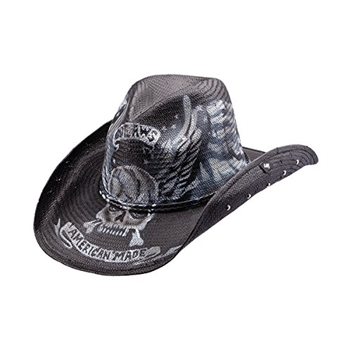 PETER GRIMM UNIQUE AMERICAN MADE OUTLAW SKULL/BONES DRIFTER COWBOY HAT]()