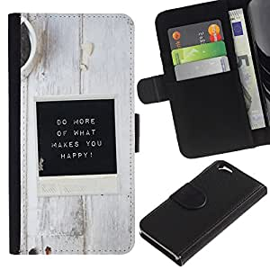 Planetar® Modelo colorido cuero carpeta tirón caso cubierta piel Holster Funda protección Para Apple (4.7 inches!!!) iPhone 6 ( White Black Coffee Inspirational Message )