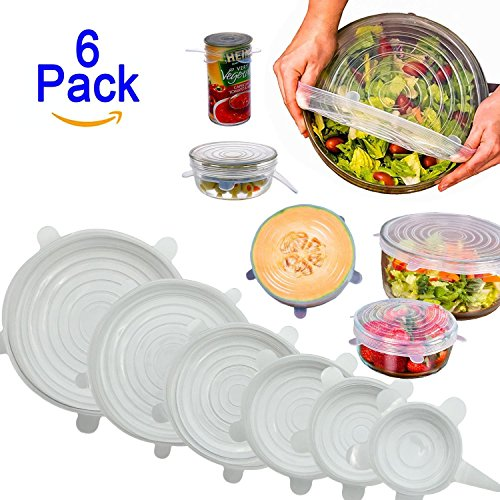 Nasin Silicone Stretch Lids BPA Free Reusable 6 pack Silicon Lids overs Food Saver Covers Various Sizes for Keeping Food Fresh, Perfect for Fruits & Vegetables or Cups, Bowls,Dishes,Cans,Plat - Silicone Clear Lid