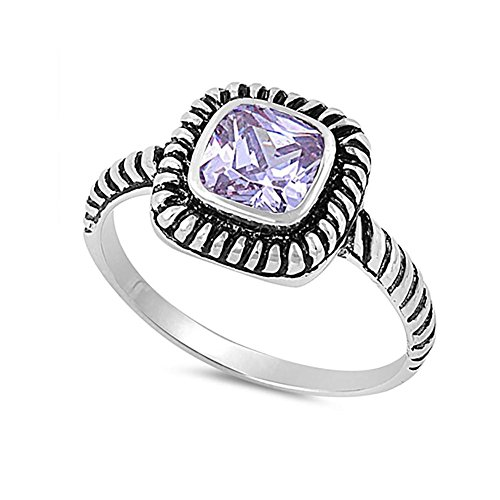 Bezel Solitaire Twisted Cable Oxidized Design Fashion Ring Princess Cut Simulated Lavender 925 Sterling Silver ()