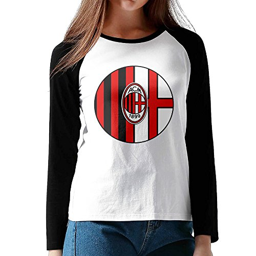 SZTTBD Women's Milan Ac Football Team Logo Casual Long Sleeve Baseball T Shirts Black (Major Johnson T-shirt)