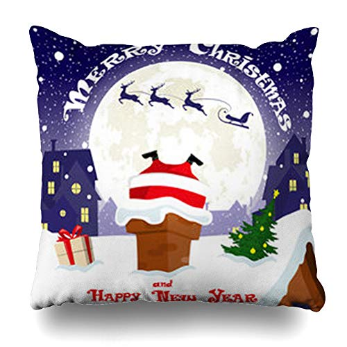 Ahawoso Throw Pillow Cover Pillowcase Stuck Comic Merry Christmas Sleigh Deers City Holidays Abstract Big Moon Bow Design Zippered Square Size 20 x 20 Inches Home Decor Cushion Case