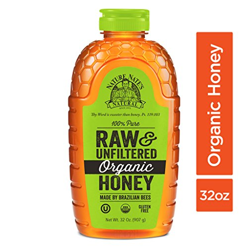Nature Nate's 100% Pure Raw & Unfiltered Organic Honey;32-oz. Squeeze Bottle;Certified Gluten Free and OU Kosher Certified;Enjoy Honey's Balanced Flavors,Wholesome Benefits and Sweet Natural Goodness (Pure Organic Honey)
