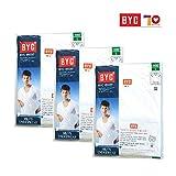 Men's Undershirts BYC 1903 U-neck White Cotton 100% Short sleeve 3-Pack Top underwear (Large)