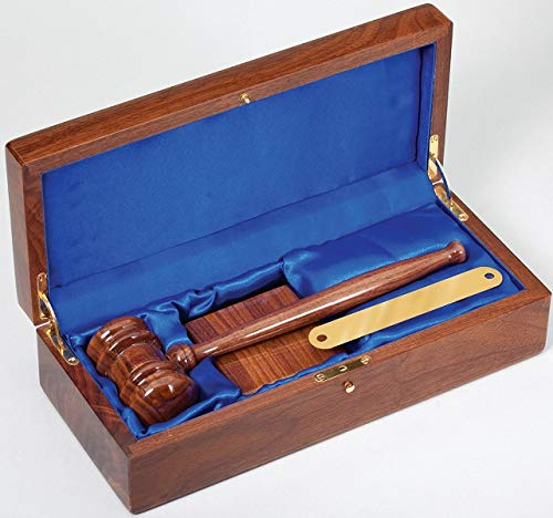 Engraved Gavel and Block Set | Judge's Personalized Gavel Engraved with Custom Message | Judge Gavel in Walnut Wood with Customized Brass Plaque - by Executive Gift Shoppe (Message Engraved Plaque)