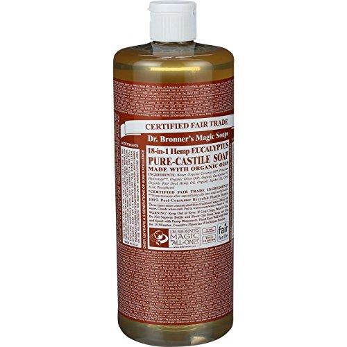 Dr. Bronners Pure Castile Soap - Fair Trade and Organic - Liquid - 18 in 1 Hemp - Eucalyptus - 32 oz - 70%+ Organic