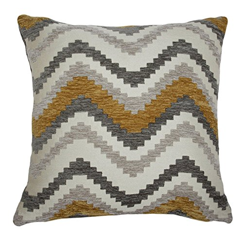 McAlister Navajo Decorative Pillow Cover Case | 17x17 Mustard Yellow, White & Gray | Soft Textured Chenille Zig Zag Chevron | Modern Aztec Moroccan Accent Décor (Pillow Mustard Yellow)